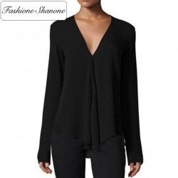 Fashione Shanone - Limited stock - Plunging necklne loose blouse