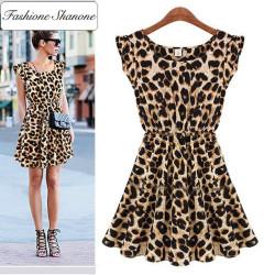 Fashione Shanone - Limited stock - Leopard trapeze dress