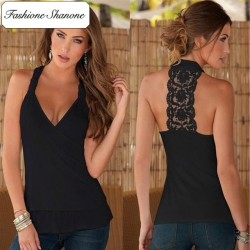 Fashione Shanone - Limited stock - Low cut top with lace back