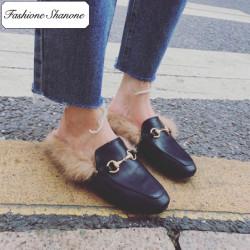 Fashion Shanone - Stock limité - Mules en cuir et fourrure