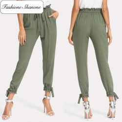 Fashione Shanone - Stock limité - Pantalon kaki taille haute