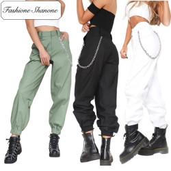 Fashione Shanone - Stock limité - Pantalon hip hop taille haute avec chaînette