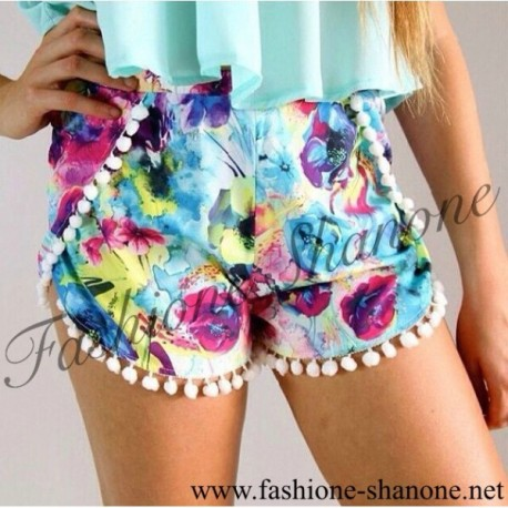 305 - Floral pattern print high waist short with pom pom