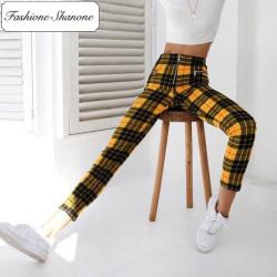 Fashione Shanone - Stock limité - Pantalon plaid jaune