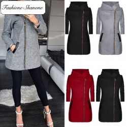 Fashione Shanone - Stock limité - Veste longue à capuche avec fermeture éclair