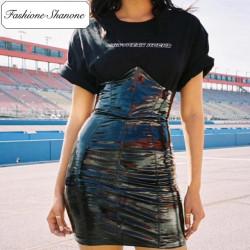 Fashione Shanone - Stock limité - Jupe en vinyle taille haute
