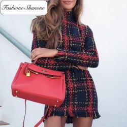 Fashione Shanone - Limited stock - Plaid knitwear dress
