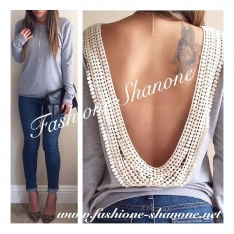 305 - Long sleeve grey backless t-shirt