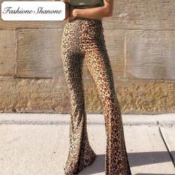 Fashione Shanone - Stock limité - Pantalon pattes d'éléphant léopard