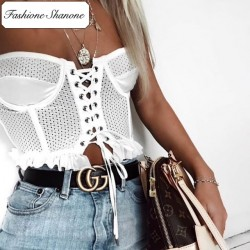 Fashione Shanone - Limited stock - Lace up shoulder off crop top