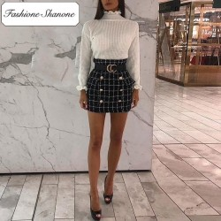 Fashione Shanone - Limited stock - Double breasted plaid skirt