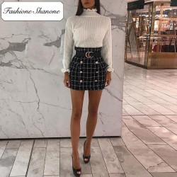 Fashione Shanone - Stock limité - Jupe plaid avec double rangées de boutons