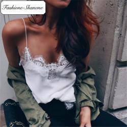 Fashione Shanone - Stock limité - Top en satin et dentelle