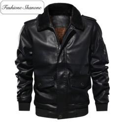 Fashione Shanone - Stock limité - Veste en cuir avec col en fourrure