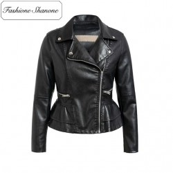 Fashione Shanone - Limited stock - Peplum leather jacket