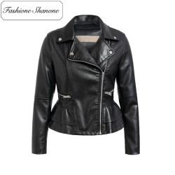 Fashione Shanone - Stock limité - Veste en cuir peplum