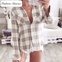 Fashione Shanone - Limited stock - Beige plaid shirt