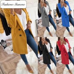 Fashione Shanone - Stock limité - Manteau en laine double rangées de boutons