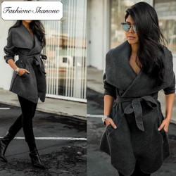Fashione Shanone - Stock limité - Manteau en laine wrap