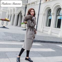 Fashione Shanone - Stock limité - Long manteau à capuche en fourrure