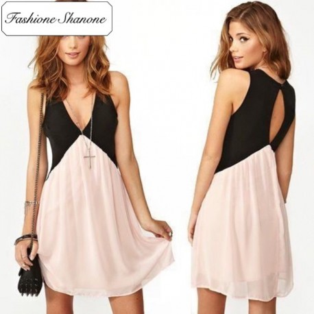 Black and pink dress with open back