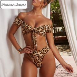 Fashione Shanone - Leopard bikini with Bardot neckline