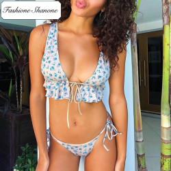 Fashione Shanone - Plunging neckline floral bikini