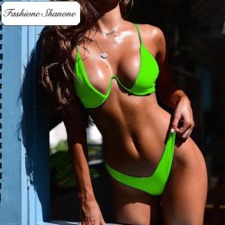 Fashione Shanone - Plunging neckline ribbed bikini