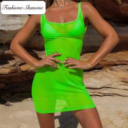 Fashione Shanone - Robe de plage transparente dos décolleté