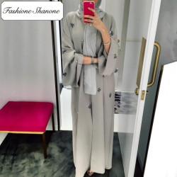 Fashione Shanone - Abaya grise brodée de perles
