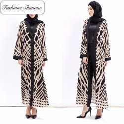 Fashione Shanone - Beige and black abaya