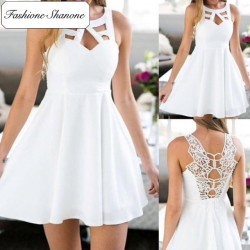 Fashione Shanone - Robe blanche avec dos en dentelle