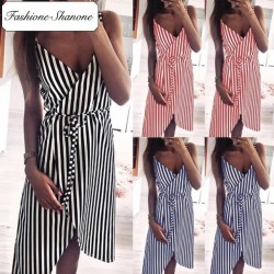 Fashione Shanone - Robe cache-coeur rayée