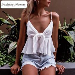 Fashione Shanone - Top blanc à froufrou