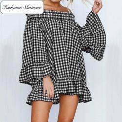 Fashione Shanone - Robe vichy à encolure Bardot