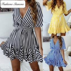 Fashione Shanone - Striped trapeze dress