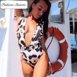 Fashione Shanone - Plunging neckline one piece swimsuit
