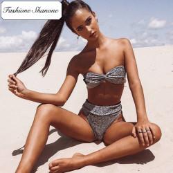 Fashione Shanone - Silver sequin bandeau bikini