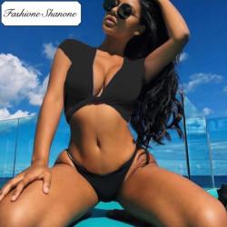 Fashione Shanone - Plunging neckline crop top bikini