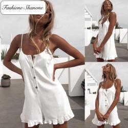 Fashione Shanone - Combinaison short blanche à bretelles