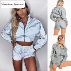 Reflective shorts and jacket set