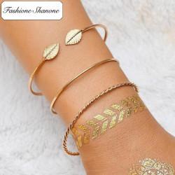 Moins de 10 euros - Ensemble de 3 bracelets feuilles