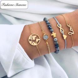 Moins de 10 euros - Ensemble de bracelets carte du monde