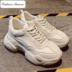 Fashione Shanone - Thick soles beige sneakers