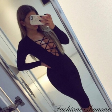 Bodycon black dress with deep neckline