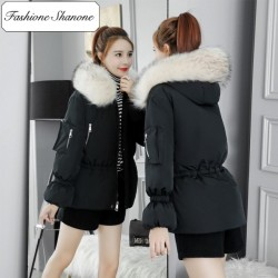 Fashione Shanone - Waisted down coat with fur collar