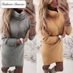 Fashione Shanone - Turtleneck sweater dress