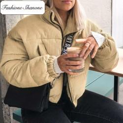 Fashione Shanone - Ribbed velvet down coat