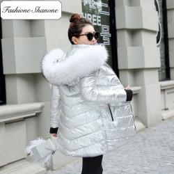 Fashione Shanone - Parka argentée avec capuche en fourrure