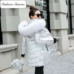 Fashione Shanone - Silver parka with fur hood